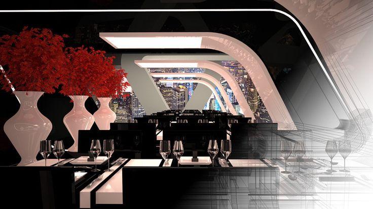 Criar diferentes ambientes de um hotel altamente sofisticado para ilustrar ambientes musicais distintos de uma radio online.   - Sushi Bar