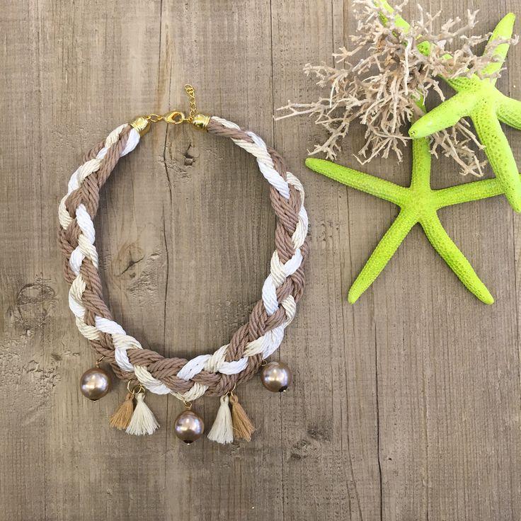 #duepuntihandmade #handmadewithlove #handmadewithlove #handmadejewelry #necklace #diy #doityourself #paracord #paracordnecklace #summer #summer2016 #sun #sea #color #naturalcolors #stellamarina #tassels #pearls #finalmenteilsole #waitingsummer
