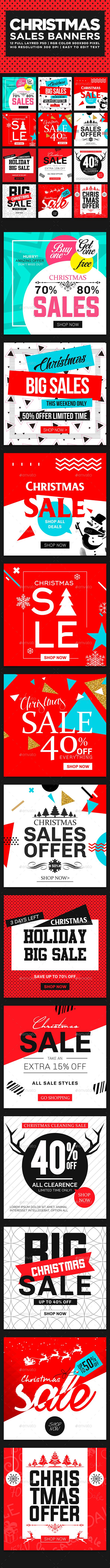Christmas Sales Banners Ads Set  Design template - Banners & Ads Web Elements Design Template PSD. Download here: https://graphicriver.net/item/christmas-sales-banners-set/18959193?ref=yinkira