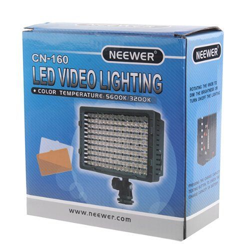 Discounted NEEWER 160 LED CN-160 Dimmable Ultra High Power Panel Digital Camera / Camcorder Video Light, LED Light for Canon, Nikon, Pentax, Panasonic,SONY, Samsung and Olympus Digital SLR Cameras