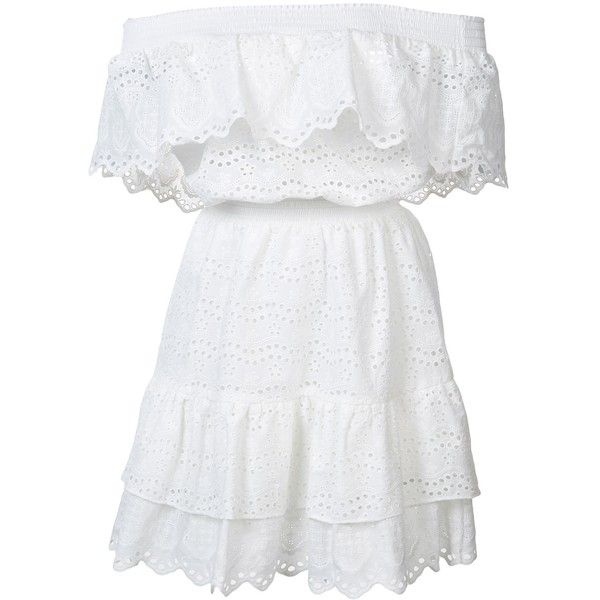 LoveShackFancy Off The Shoulder Ruffle Eyelet Dress (675 BRL) ❤ liked on Polyvore featuring dresses, vestidos, robe, white, kirna zabete, kzloves /, the amanda ross edit, eyelet dresses, smock dress and off the shoulder ruffle dress
