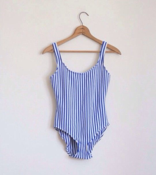 swimwear stripes stripped swimwear blue white blue and white striped blue bathing suit retro one piece one piece swimsuit