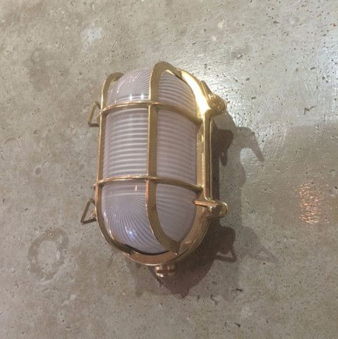 Die-Cast Brass Bunker Light Italian Made . 4 Sizes to choose from