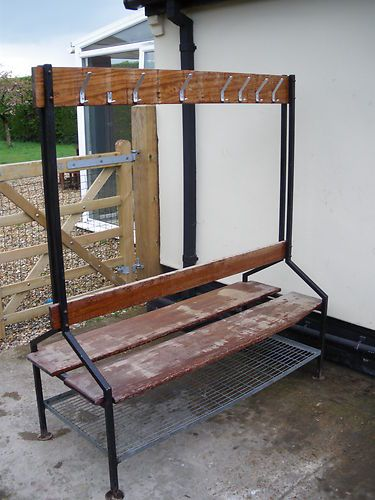 Old school gym double sided changing room bench with