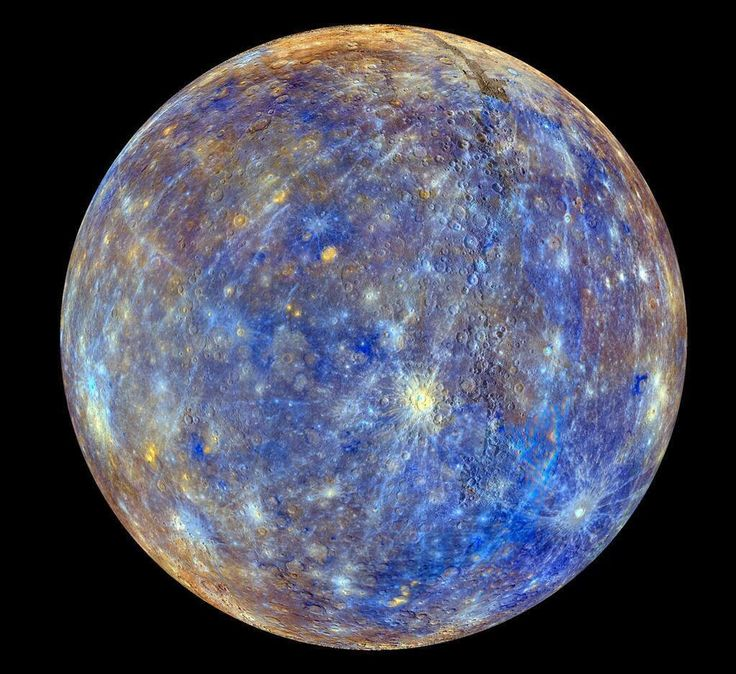 Clearest pic of Mercury to date.  Pic is color-enhanced in blue areas for some reason to emphasize the occurrence of... something, unknown but to NASA.  Still, a great pic.