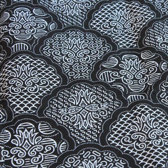 Black and white tone traditional Thai Batik style fabric, by 18dec, $15.00, on Etsy.