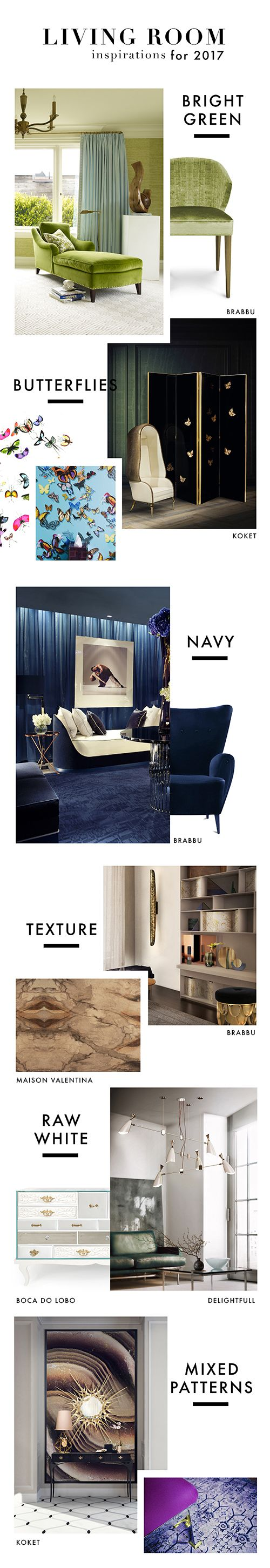 Living Room Inspirations for 2017 From, Bright green, butterflies, navy, textures, raw white and mixture patterns. | Inspirations for creative minds http://inspirationdesignbooks.com/infographic/