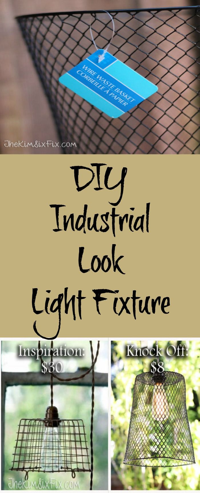 DIY industrial look light fixture for a fraction of the cost of a store-bought one
