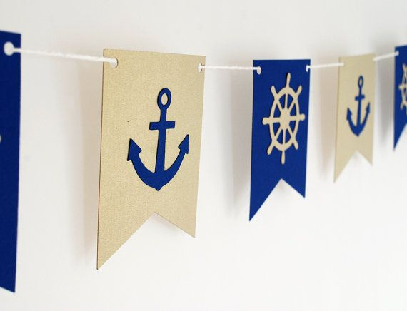 Nautical theme Garland Navy and Gold  5ft by BluefinWorks on Etsy, $16.00