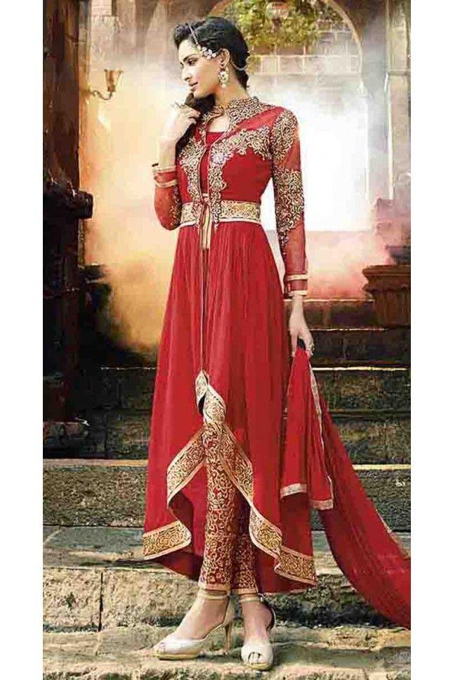 Lush Red Georgette Anarkali Salwar Kameez