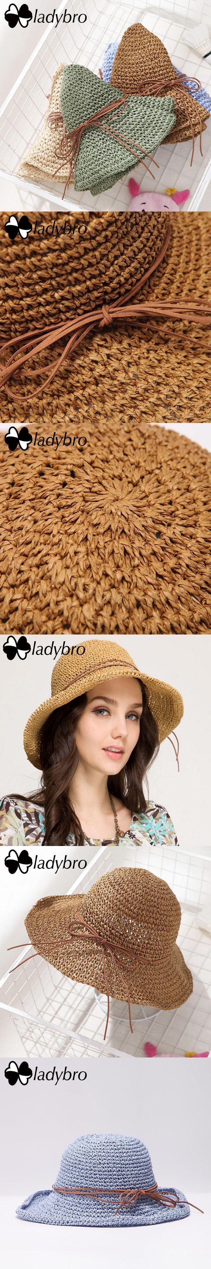 Ladybro Brand Ladies Sun Hat For Women Bowknot Raffia Straw Hat Foldable Summer Hat Wide Brim Beach Hat Female Chapeau Femme