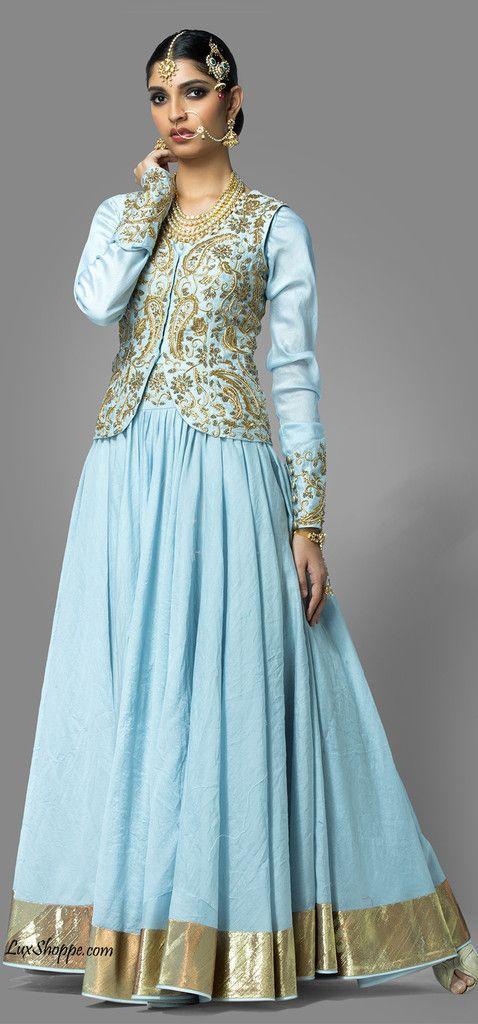 Icy Blue Lehenga with Jacket, Shilpa Reddy - Lux Shoppe – LuxShoppe.com