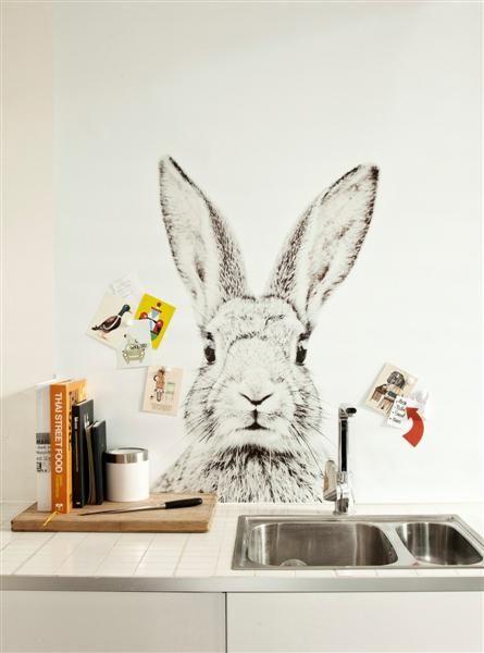 Magnetisch behang met print konijn funky walls d webshop voor vintage en modern behang - Modern behang voor volwassen kamer ...