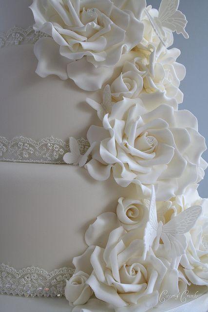 Wedding Cake with rose art