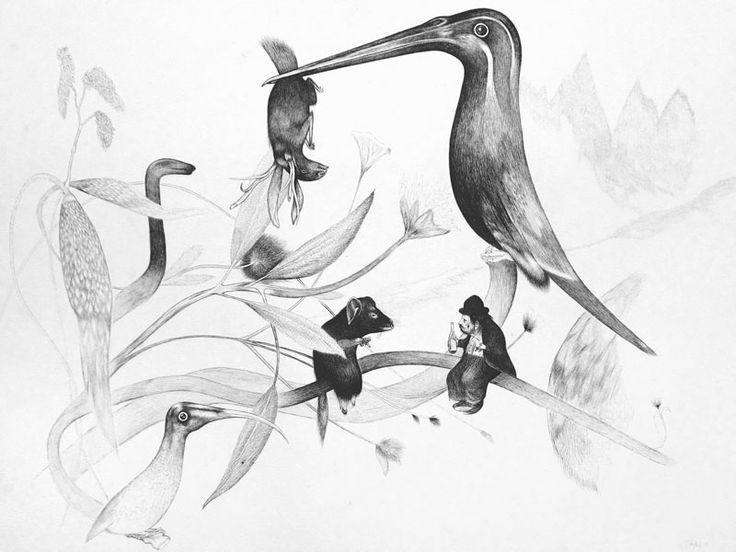 Zarte Zeichnungen von aussichtslosen Situationen: Per Dybvig in der Galerie König