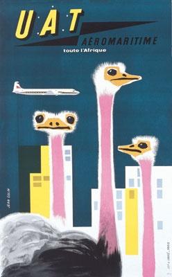 U.A.T. Aeromaritime toute l'Afrique #travel #poster by Jean Colin 1957