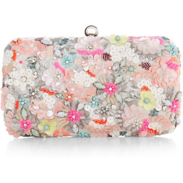 Accessorize Neon Floral Hardcase Clutch Bag found on Polyvore featuring bags, handbags, clutches, purses, floral clutches, sequin handbags, floral handbags, box clutch and pink purse
