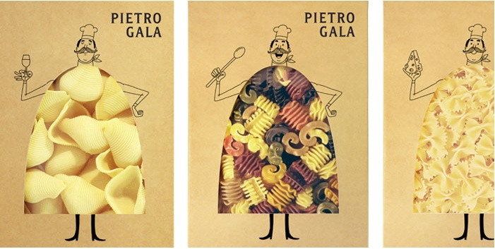 """""""Pietro Gala"""" is a new premium pasta brand, distinguished by handcraft manufacturing and high quality ingredients. Fresh chicken agency developed the brand name, character and designed production package. Pietro Gala is an italian chief cook, whose image features different kinds of pasta. Cardboard texture and one-colour print emphasize naturalness of pasta and generate positive emotions."""""""