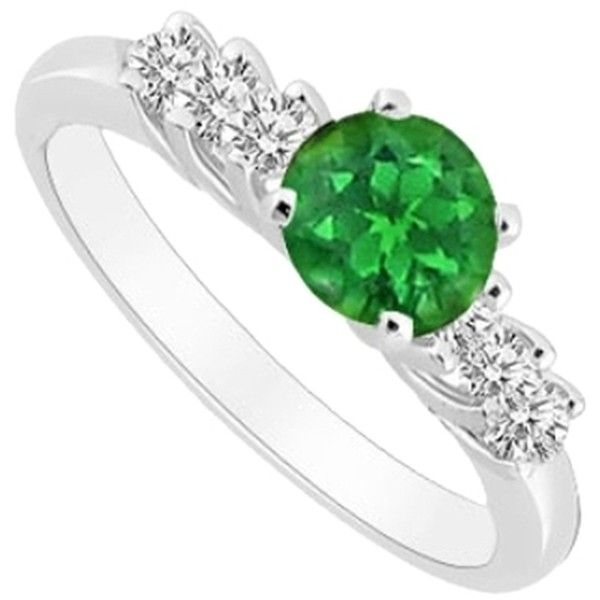 Pre-owned May Birthstone Created Emerald and CZ Engagement Ring in 14K... ($399) ❤ liked on Polyvore featuring jewelry, rings, accessories, green, cz rings, green emerald ring, 14k cubic zirconia rings, pre owned engagement rings and preowned engagement rings