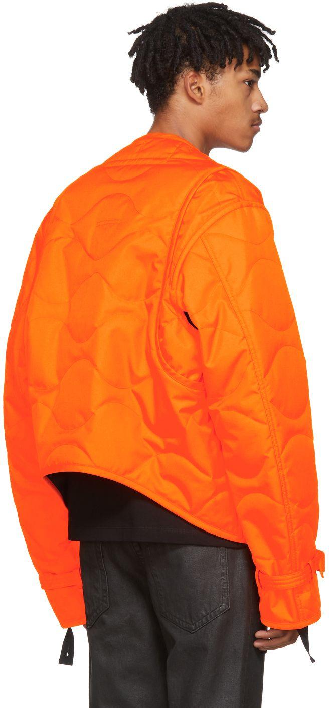 Helmut Lang - Orange Quilted Thrown On Jacket