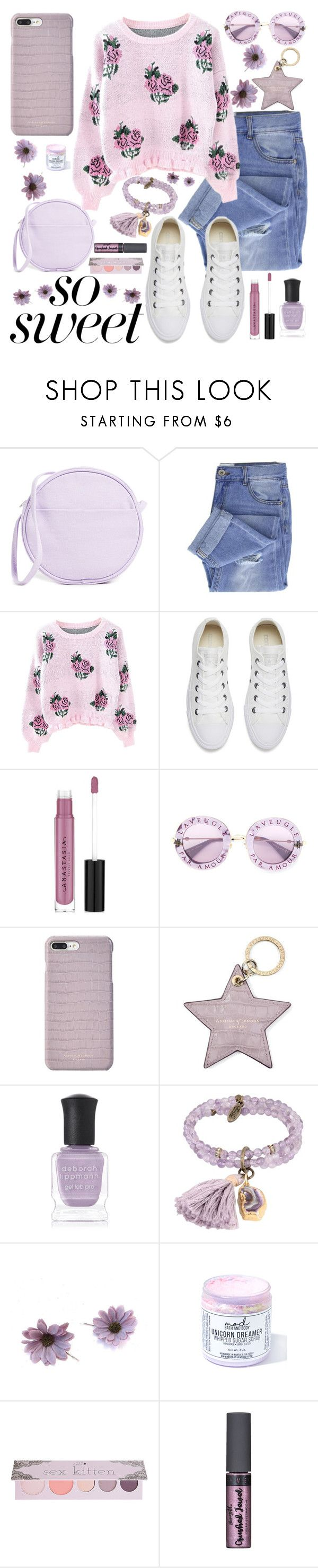 """""""pastel sweater"""" by beingmyselfaf ❤ liked on Polyvore featuring BAGGU, Taya, Converse, Anastasia Beverly Hills, Gucci, Aspinal of London, Deborah Lippmann, Ettika, Mod Bath and Body and 100% Pure"""