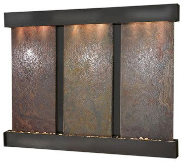 Olympus Falls Wall Fountain, Blackened Copper, Multi Color Slate, Square Frame traditional indoor fountains
