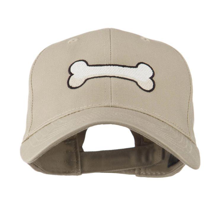 Dog Bone Shape Embroidered Cap - Khaki