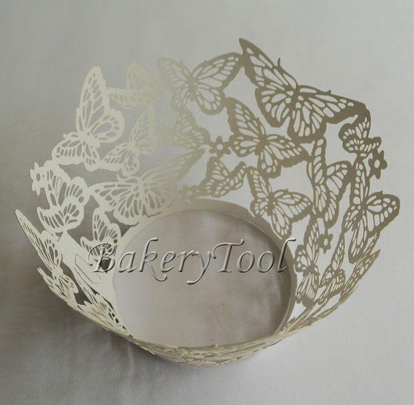 blanco de la boda decoración de la mariposa 48 piezas de encaje de la magdalena envoltorio de papel jabón del molde de pastel de pie suministros para hornear
