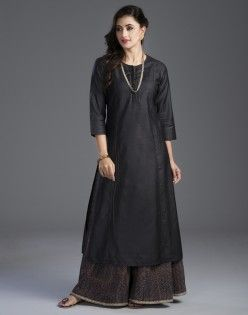 Silk Muga Potli Button Long Kurta