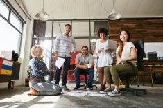 Team of creative people in office stock photo