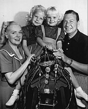 Alice Faye, her husband Phil Harris, and their two daughters, Alice and Phyllis, in 1948.