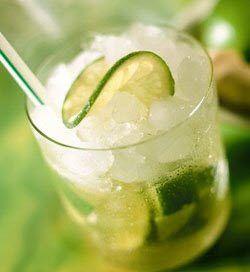 Caipirinha....3/4 of a fresh lime  1 1/2 oz of sugar cane syrup  ice cubes (not crushed)  2 oz of cachaca