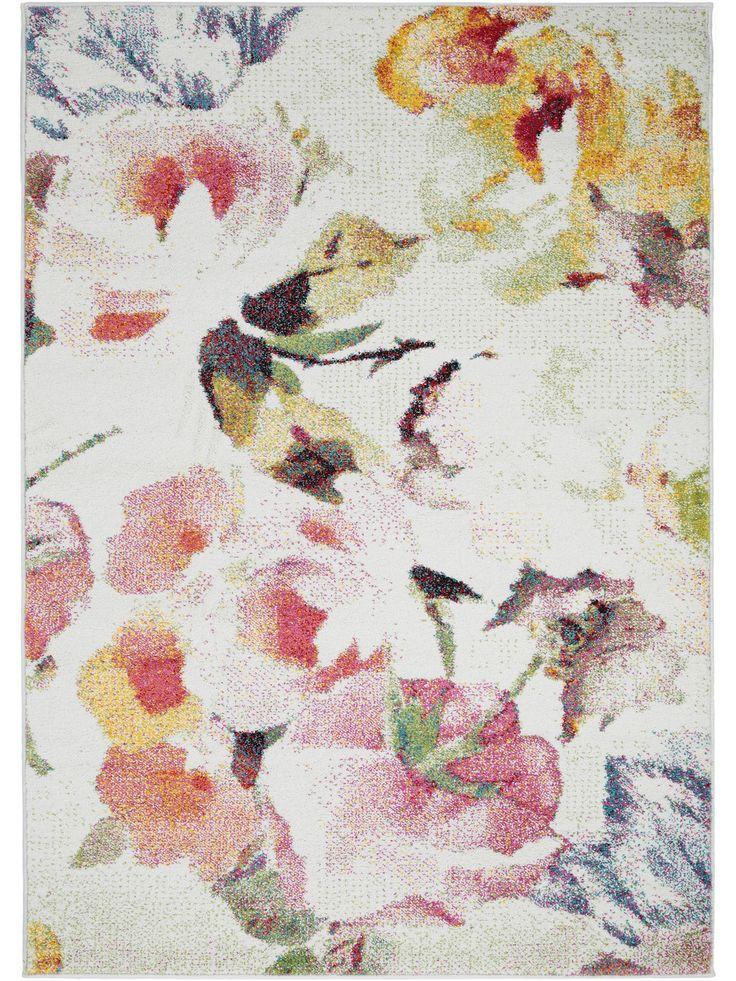 Shabby Chic Teppich mit zarten Blüten in Pastell