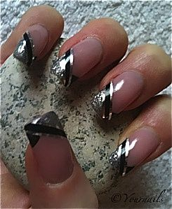 15 best omg love these nails images on pinterest cute nails black tip acrylic nails silver and black french tip manicure prinsesfo Gallery