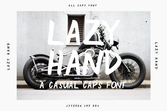 Ad: Lazy Hand is a casual, all caps font with endless possibilities. With a relaxed handwritten style, Lazy Hand makes for a versatile font that can be dressed up or down no matter the project!