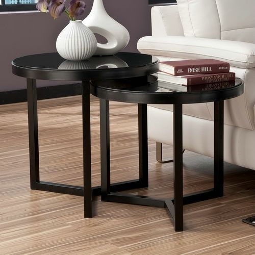Double Black Tables End Glass