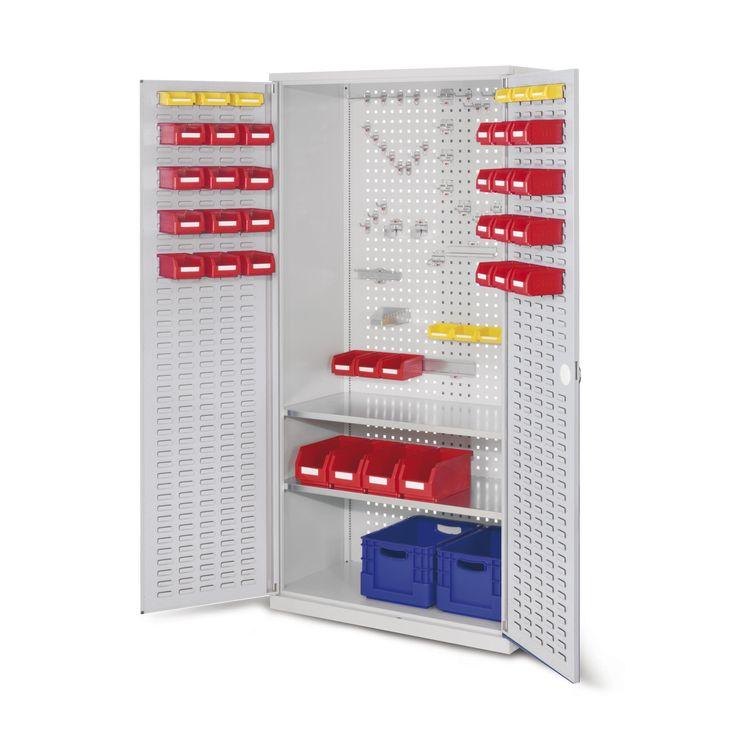 GTARDO.DE:  Werkzeugschrank, Türen mit Schlitzplatten, BxTxH 1000 x 500 x 1950 mm, 2 Fachböden 639,00 €