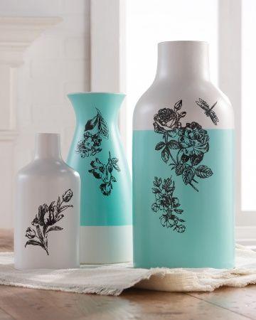 vases DIY Martha Stewart Crafts Glass Paint #DIY #crafts #MarthaStewart