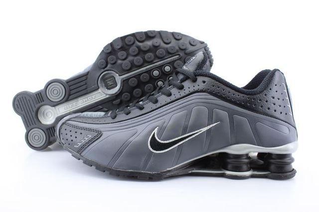 Mens Nike Shox R4 Grey Black Column Shoes www.likeshoxshoes.com