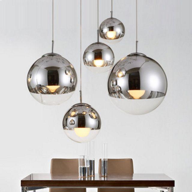 Покрытием стеклянный шар подвесной светильник современный одноместный подвесные светильники энергосберегающие лампы с зеркальным стеклом висит подвесной светильник кухня огни