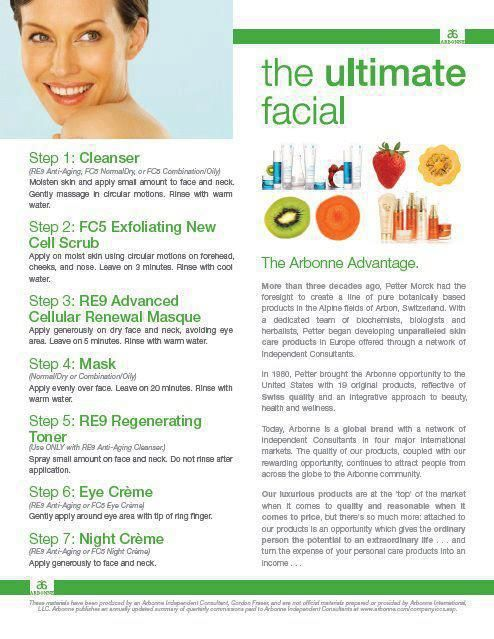 arbonne and facial product