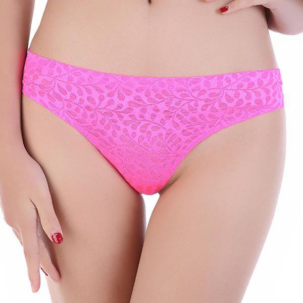 Women Sexy Jacquard Thong Seamless Ultra Thin T-back Panties at Banggood