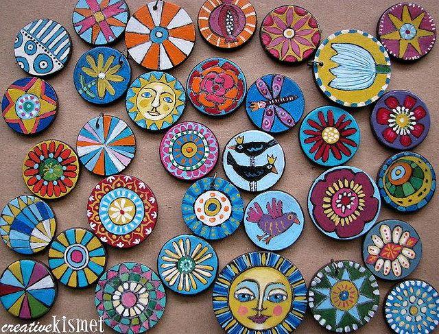 painted wood discs for pendants, key chains etc...