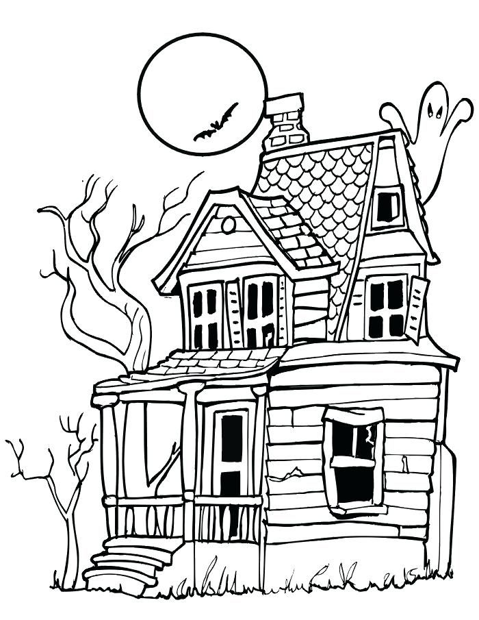 Drawn House Halloween With Images Halloween Coloring Pages