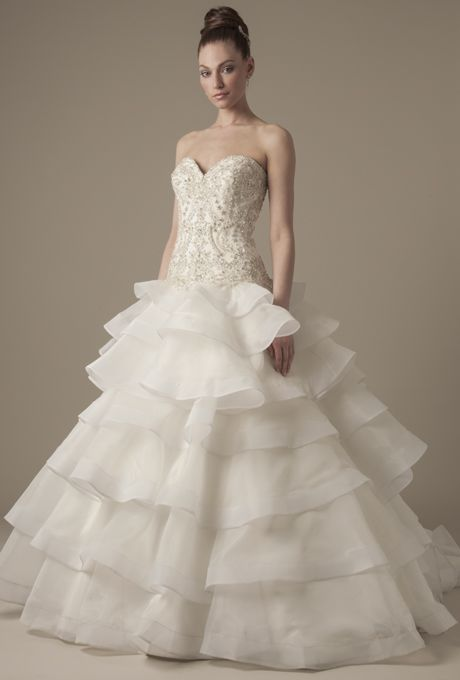 Brides.com: Dennis Basso - 2014. Strapless embroidered sweetheart bodice ball gown with ruffled skirt, Dennis Basso