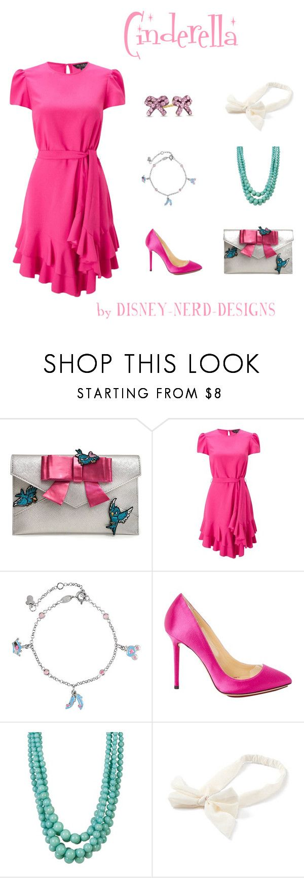 """""""Cinderella Disney Bound"""" by disney-nerd-designs ❤ liked on Polyvore featuring Danielle Nicole, Miss Selfridge, Charlotte Olympia, Cara Accessories, Pink, disney, cinderella and disneybound"""