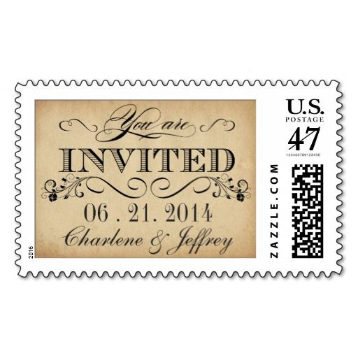 Vintage Rustic Parchment Wedding Invite Postage #wedding#postage#stamps