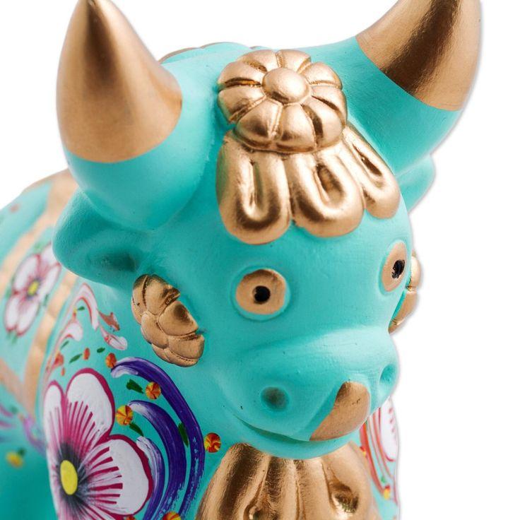 Peruvian ceramic 'Colorful Timoteo' Pucara Bull | Latitudes Décor – Latitudes Decor