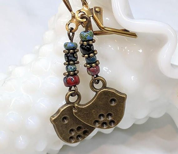 Cute Bird Earrings Charm Colorful Petite Glass Bead Dangle