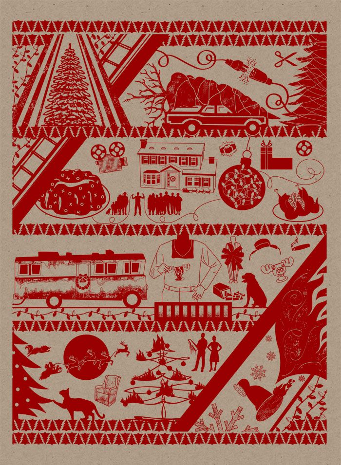 Christmas Vacation themed wrapping paper! Hand illustrated and Designed by Alicia Waters